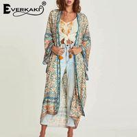 Everkaki Women Floral Print Kimono Coats Boho Autumn Winter Sashes Loose Plus Size Casual Ladies Coats Kimono Female 2020 New