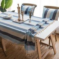 Настольная ткань Средиземноморский стиль скатерть водонепроницаемая прямоугольная крышка полоса серия кисточек для украшения столовой