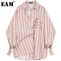 [EAM] New Spring Autumn Lapel Long Sleeve Red Striped Printed Letter Big Size Shirt Women Blouse Fashion Tide JQ226 201013