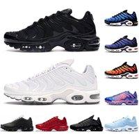 Erkekler için TN Koşu Ayakkabıları Kadın Chaussures Üçlü Siyah Beyaz Gerilim Mor Hiper Mavi Deluxe Tenis Erkek Trainer Açık Spor Sneakers