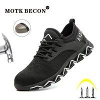 Sapatos MOTK BECON Indestructible Ryder para Toe Men Aço Safty sapatos Light Weight Outdoor Work Sneakers punção prova botas 906 201019