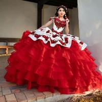 2021 blanc et rouge Quinceanera robe de bal appliques de perles douce 16 Robe jupe à volants Robes de xv años