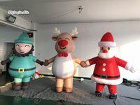 Christmas Parade prestazioni Walking gonfiabile del fumetto figura del costume della mascotte Wearable Blow Up di Santa / Farmer / renna Abbigliamento Per Eventi