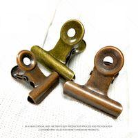 4 Tamaño Retro Redondo Metal Grip Clips Bronce Bulldog Clip Clip de papel de metal para etiquetas Bolsas Oficina al por mayor LX3470