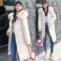 Versão Coreana de meados de comprimento para baixo Loose Women Inverno acolchoado Jacket New Collar Large Fur