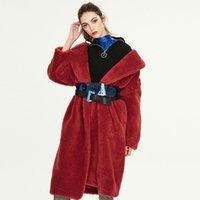 Зимняя европейская и американская женская новая искусственная кожаное меховое пальто X-Long частицы овчины меховые теплые профильные пальто Long1