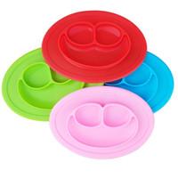الطفل سيليكون السلطانيات أطباق الأطفال الغذاء الصف سيليكون غير زلة لطيف وعاء كيد الطفل قطعة واحدة طبق الطعام حصيرة 7 ألوان EWD2061