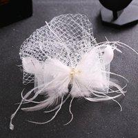 Feather Cap Lady Cocktail Dîner Dîner Fedoras Mariage Bowknot Bowknot Mesh Veil Hats Vintage Sombreros Chapeau Fascinators LM059 H Jllezd