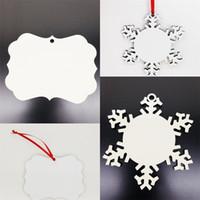 Arbre de Noël cadeau pendentif sublimation blancs ornement 2020 revêtement en bois décoration des flocons de neige flocons de neige flocons circulaires bricolage 1 13bd f2