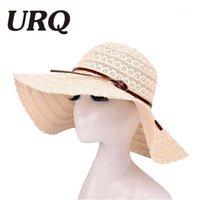 URQ Summer Sun Sombreros para las mujeres Lace Cotton Soft Big Fashion Design Women Beach Sun Hat Hat Brimmed plegable Sombrero de paja ZZ40691