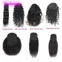 Vague de l'eau de la vague profonde malaisienne 100% extensions de cheveux humains Afro Kinky Curly Vierge Cheveux Ponye de queue droite 100g Échantillon de gros Yirubeauty