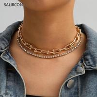 Salircon Fashion Glänzende Tennis Strass-Halsketten-U-geformte Claviclekette Kristall Halskette für Frauen-Goldfarben-Schmuck