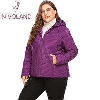 Involand Plus Размер Женская Куртка Пальто на молнии С Длинным Рукавом Осенняя Куртка Изготавшиеся Женщины с капюшоном Пальто Большого размера Хлопковое зимнее пальто 201029