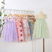 VIDMID kids girls summer sleeveless dresses children lace floral clothes dress baby girls cartoon casual dresses clothing 7065