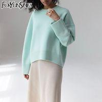 여성 패션 느슨한 캐주얼 니트 풀오버 고체 긴 소매 가을 겨울 FORYUNSHES 스웨터 복고풍 점퍼 여성 스웨터 201,017