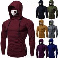 Mens Hot Sale Leisure Gym Thin Hoodies Spring Autumn Long Sleeve Comfort With Mask Sweatshirt Casual Male Hoodies
