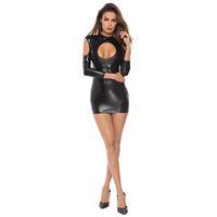 Porno Baby Doll Latex Nightclub Stripper Ropa Stripper Sexy Latex Vestido para las mujeres Sexy Lencería Sexo Sex Cuero Body Ropa interior erótica