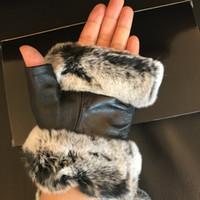 Guante de estilo vintage de invierno con suave cuero genuino Guantes de dedo abierto con piel de conejo guantes negros de buena calidad con caja de regalo (Anita)