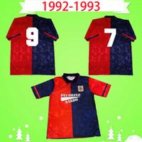 Cagliari 1991 1992 1993 레트로 축구 유니폼 홈 레드 91 92 93 축구 셔츠 클래식 기념 컬렉션 빈티지 Maglia Da Calcio Mens