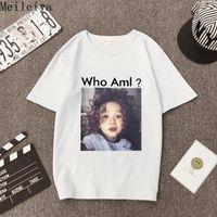 T-shirt das mulheres meileiya frouxo branco de mangas curtas mulheres cem camisetas estudantes verão meia-manga roupas1