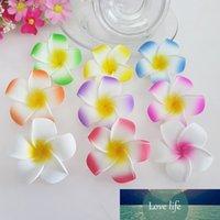 100 stks 9cm Hawaiy 5 kleuren Real Touch Kunstmatige PE Plumeria Bloemhoofden DIY Wedding Party Headware Decoration