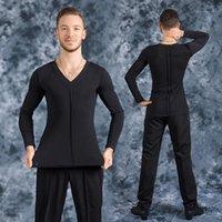 Sahne Giyim V Yaka Latin Dansı Tops Siyah Latina Giysileri Erkek Gömlek Erkek Salsa Uygulama Kostüm Performans Gömlek JL11331