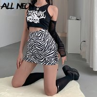 ALLNeon Y2K Fashion Zebra Impression Criss-Cross Chain Bodycon Minijupes 90 E-fille taille haute Zippé Jupe courte Bas Punk