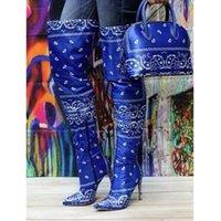 Nasula kadınların yüksek topuk paisley uzun çizmeler katı renk bandaj sivri bayanlar çizmeler ove diz yüksek topuklu ayakkabı paisley çantası 201203