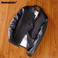 Mountainskin Yeni Ceket Erkekler PU Patchwork Ceketler İlkbahar Sonbahar Sahte Deri Ceket Slim Fit Moda Erkek Motosiklet Coats SA678