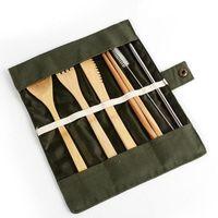 خشبي عشاء مجموعة أدوات المائدة عيدان ملعقة سكين شوكة فرشاة سترو تلقى حقيبة 7 قطع مجموعة الطبخ أدوات الآمن أطباق مجموعات WY309w