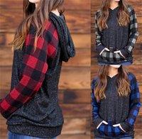 Noel Kadınlar Tişört Kapüşonlular Ekose Patchwork Uzun Kollu Hoodie Sweatshirt Bayanlar Kapşonlu Kazak Pocket S-2XL E110201 ile Tshirt Tops