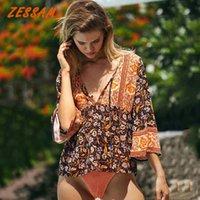Zessam Boho Inspirado Verde Floral Verão Top Blusa Do Vintage Botões de Algodão Mulheres Tops Bohemian Gypsy Laidies Tops Holiday T200429