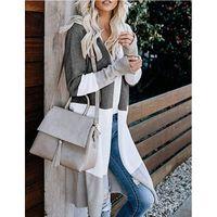 Kamucc novas mulheres outono e inverno casual manga longa três cores costurando cardigan contraste camisola jaqueta mulheres amor y201012