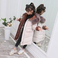 -30 الشتاء الأطفال لفترة طويلة معطف دافئ الفراء طوق أسفل سترة مقنعين للمعطف الاطفال ملابس الفتيات سترات