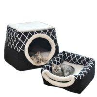 الحيوانات الأليفة السرير للقطط الكلاب الناعمة عش بيت الكلب الكهف منزل حصيرة وسادة سادة خيمة الحيوانات الأليفة الشتاء الدافئ الأسرة l xl xl