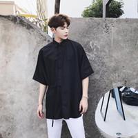 2021 Yeni erkek Giyim GD Saç Stilisti Podyum Moda Bel Kravat Yarım Kollu Gevşek Gömlek Sahne Kostümleri