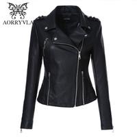 AORRYVLA Bahar Kadın Moto Biker Fermuar Ceket Siyah Sahte PU Deri Ceket Kısa İnce Stil Moda Bayan deri ceket 201.022