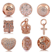 925 Sterling Silver Crystal Clear CZ cd Rose gold Charms European Beads Fit Pandora Snake Chain Bracelet Charms Jewelry DIY Making