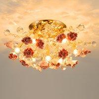 Nordic Luxury Soggiorno LED Plafoniera Lampada da soffitto moderna sala da pranzo camera da letto lampada da soffitto rotonda fiore in ceramica fiore cristallo luci per l'ora