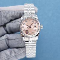 Heiße hochwertige gold damen kleiduhr 28mm mechanische automatische saphir womensuhren edelstahlband armbanduhr tasche beste geschenk