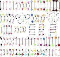 Promotion 110pcs Mélange Modèles / Couleurs Corps Bijoux Ensemble Résine Eyebrouts Navel Navel Luge Luge Nez Nez Piercing Bar Barings PS2625
