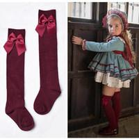 Nya barns flickas kungliga stil båge knä High Socks5kids lårhighs över knä sock Sox 3-11y 5PAirs / 10PCS