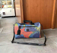 Designer Canvas Duffel sacos moda homens e mulheres amantes único saco de ombro dupla face colorido sacos de viagem grande bolsa de grande capacidade