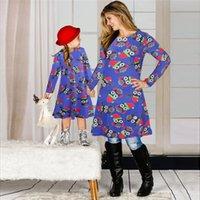 크리스마스 가족 매칭 의류 2020 어머니 딸 매칭 드레스 긴 소매 스커트 크리스마스 인쇄 부모 - 자식 드레스 의상 E101901