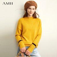 Amii весна пола-водолазка вязать свитер женщин причинной oneck полных рукавов свободных пуловеры вершина 11930334 200929