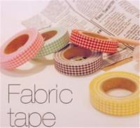 Washi enmascarando la cinta de tela autoadhesiva decoración de la tela de la cinta de la tela de la flor de Janpan Frabric DIY Cinta Verifique la onda de flores Dot 2016
