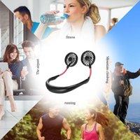 Tragbarer Mini tragbarer Lüfter USB wiederaufladbare Nackenband faul hängend dualkühlungssport 360-Grad rotierender hängender Nackenventilator für Home Office