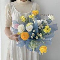 Glass Flower Wrapping Paper Impermeabile Valentine Flowers Carta da regalo Carta da regalo 60 * 60cm 20pcs / lot Florist Flower Bouquet Bouquet Imballaggio 168 N2