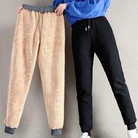 Pantalon courant Femmes hiver épais d'agneau d'agneau Cachemire chaude féminine décontractée en coton lâche pantalon long Harlan plus Taille S-5XL 3XL 4XL1