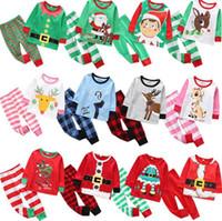 Pyjamas d'enfants de Noël Ensemble Survêtement deux pièces Tenues Père Noël Elk rayé Noël costumes pyjamas Ensembles Garçons Filles Accueil Vêtements DWA1651